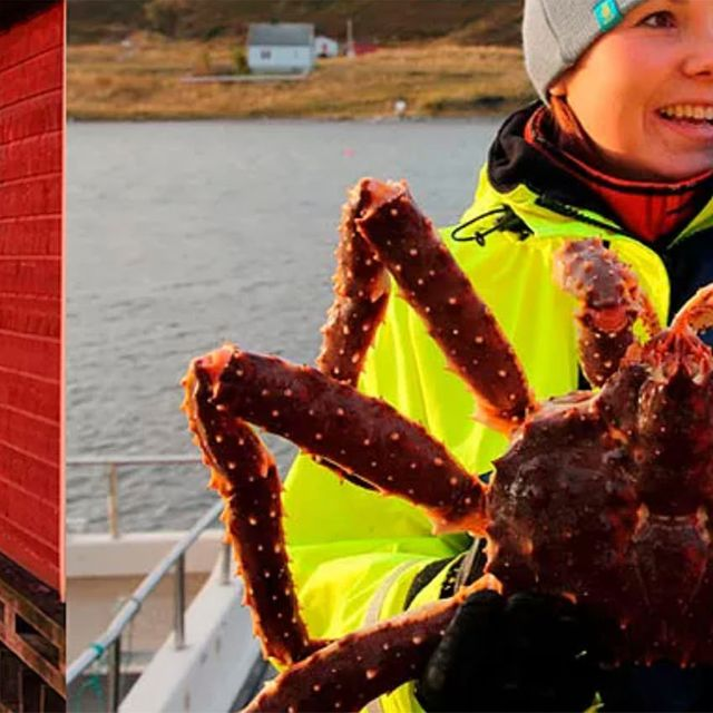 Female crab fisher holding up a king crab